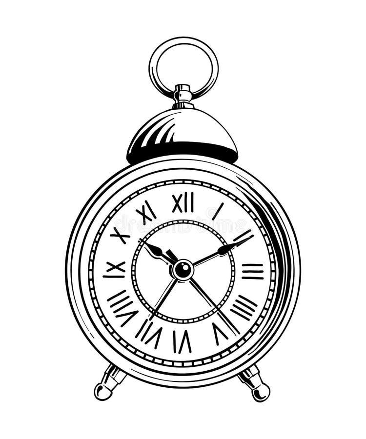 导航海报、装饰和印刷品的被刻记的样式例证 闹钟手拉的剪影在黑色的 向量例证