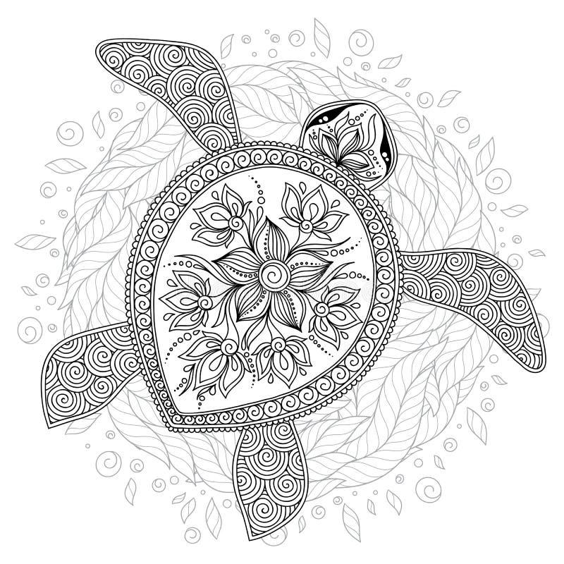 导航海龟的例证彩图页的 库存例证