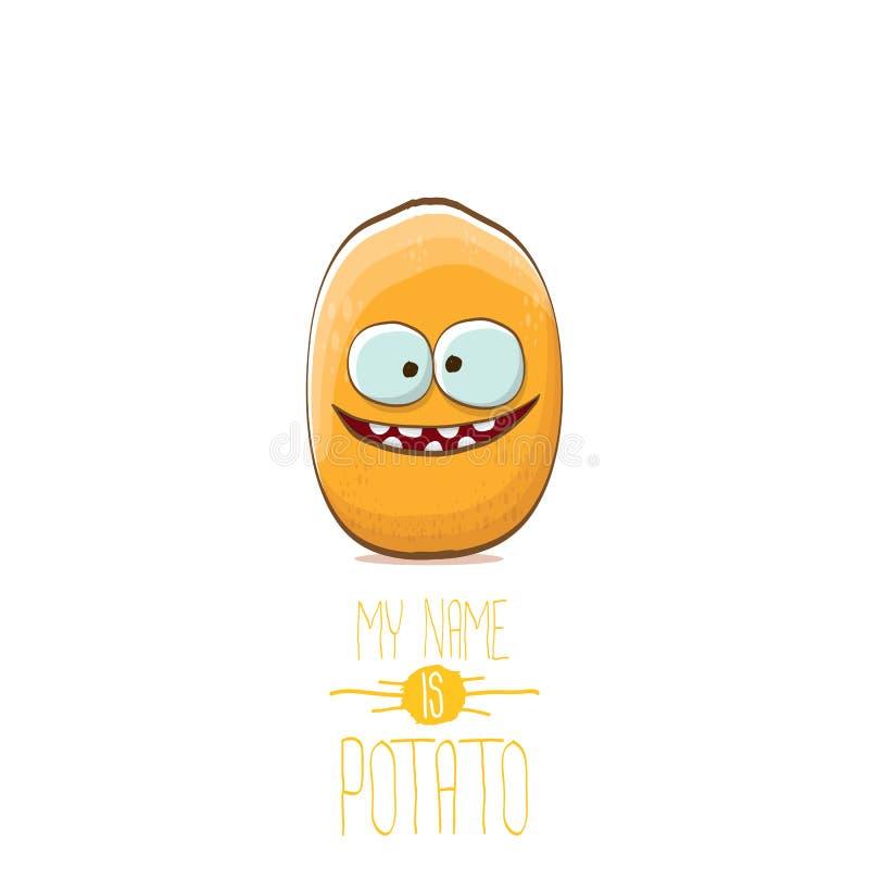 导航滑稽的在白色背景隔绝的动画片逗人喜爱的微小的土豆字符 我的名字是土豆传染媒介概念 向量例证