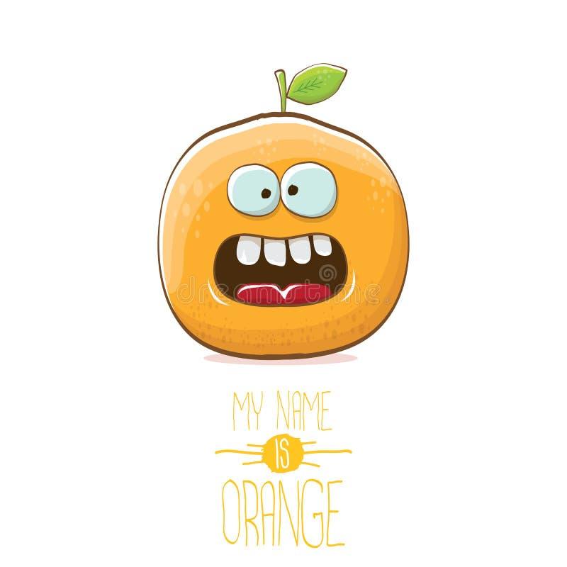导航滑稽的在白色背景隔绝的动画片逗人喜爱的橙色字符 我的名字是橙色传染媒介概念 超级质朴 库存例证