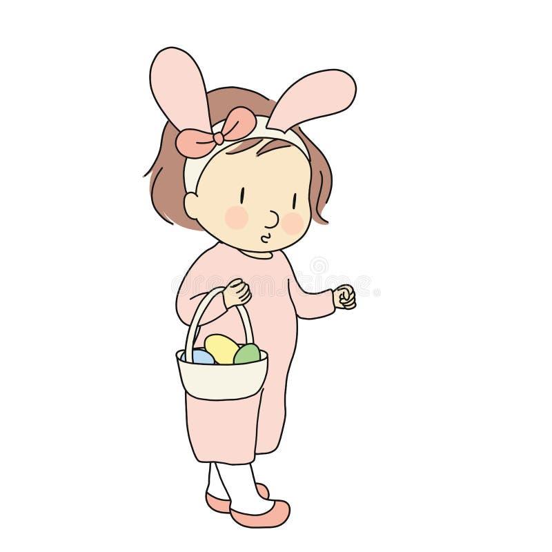 导航滑稽的运载篮子用五颜六色的被绘的鸡蛋的孩子佩带的兔宝宝耳朵的例证 愉快的复活节天,蛋狩猎 皇族释放例证