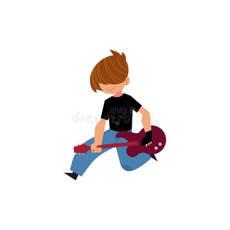 导航演奏岩石电吉他音乐的平的人 向量例证