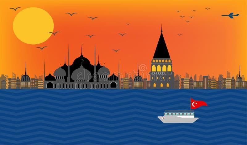 导航火鸡堤防伊斯坦布尔美丽的景色在蓝色mosq的 向量例证