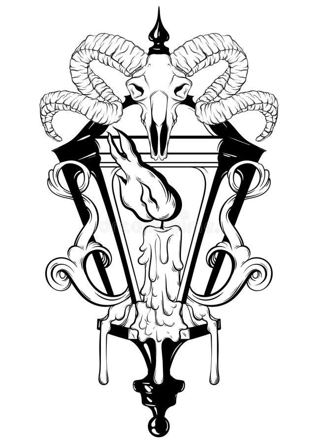 导航灯笼的手拉的例证有熔化的蜡烛的并且猛撞头骨 库存例证