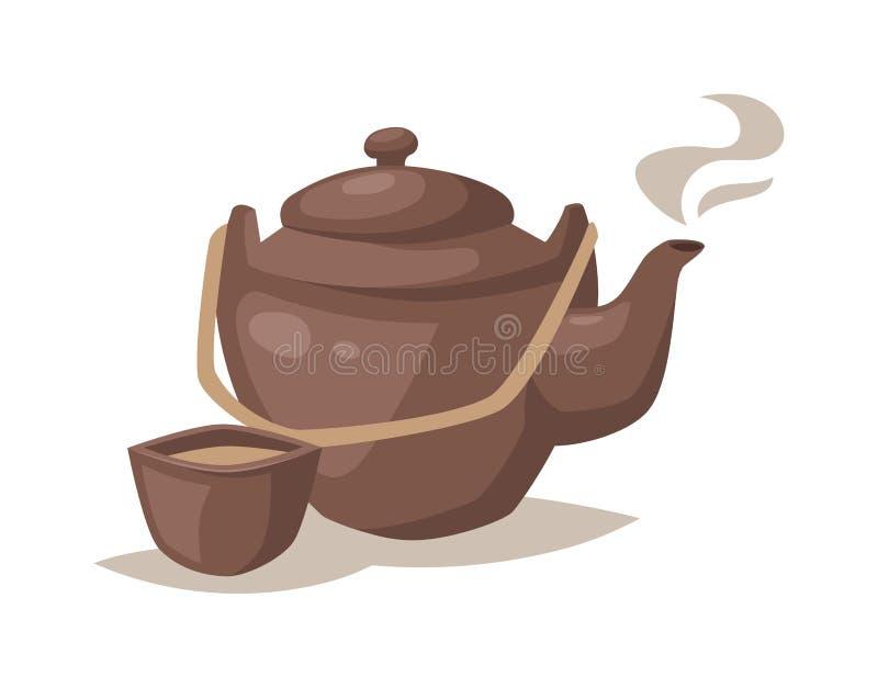 导航灰色瓷动画片茶壶和杯子有热的茶饮料的 库存例证