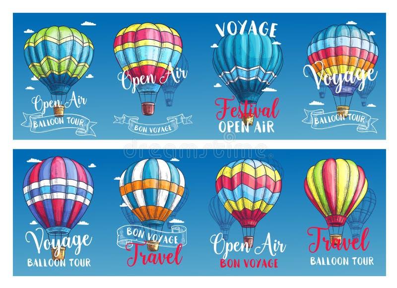 导航热空气气球远航节日的横幅 库存例证