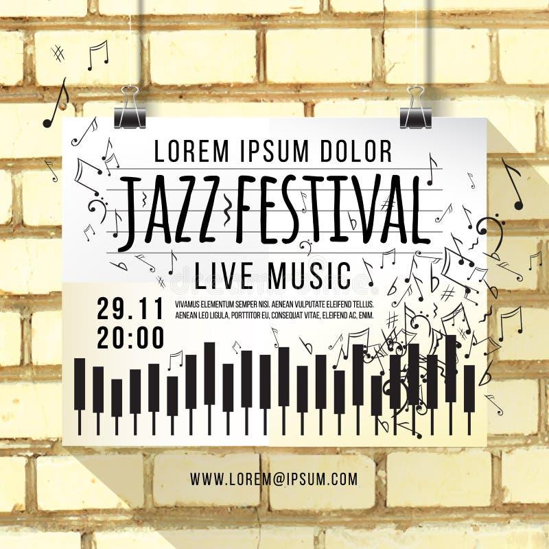 导航爵士乐节日,海报背景模板设计  有音乐笔记的键盘 砖墙,背景 库存例证