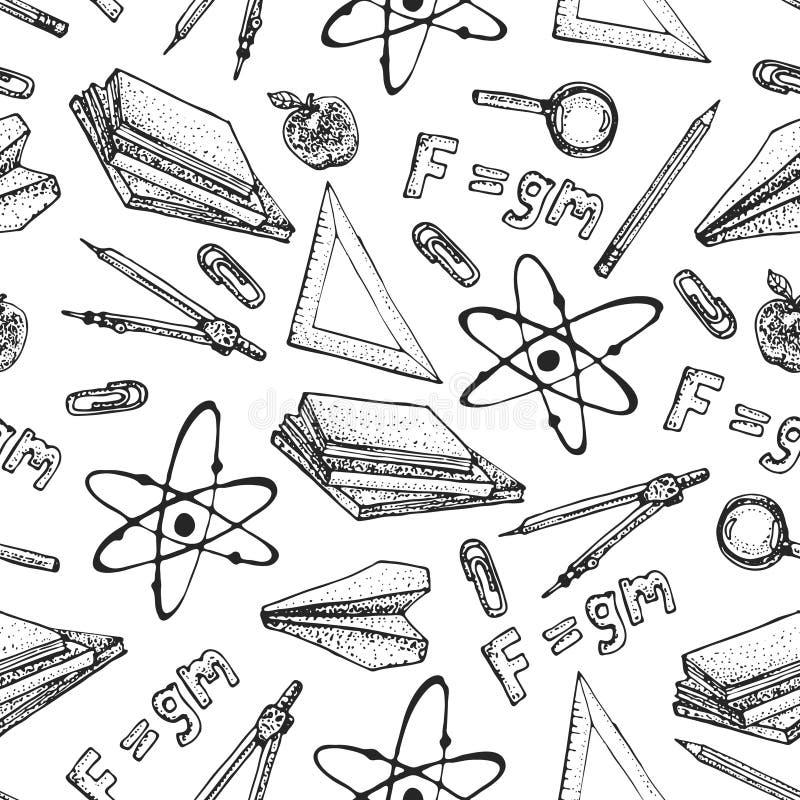 导航物理科学理论和接合惯例等式,工具式样象的无缝的样式 乱画分子,惯例 库存例证