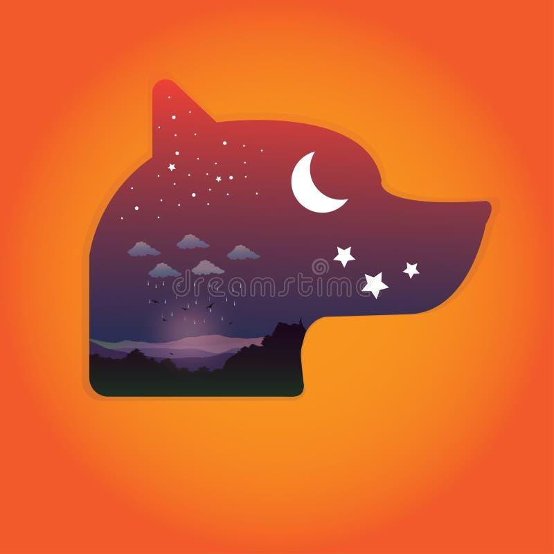 导航狗艺术在幸福黑暗的 免版税库存图片