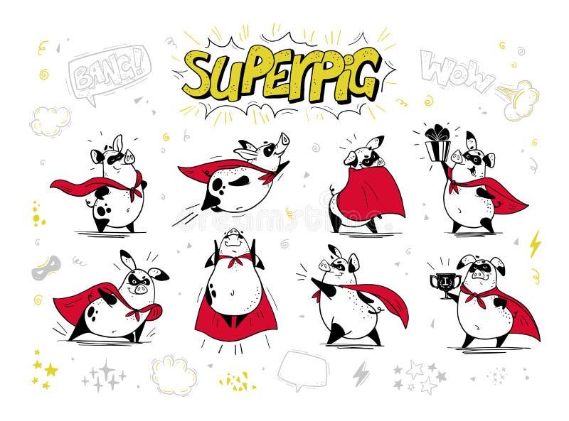 导航猪特级英雄手拉的字符的汇集在白色背景隔绝的 可笑的样式 外形图 皇族释放例证