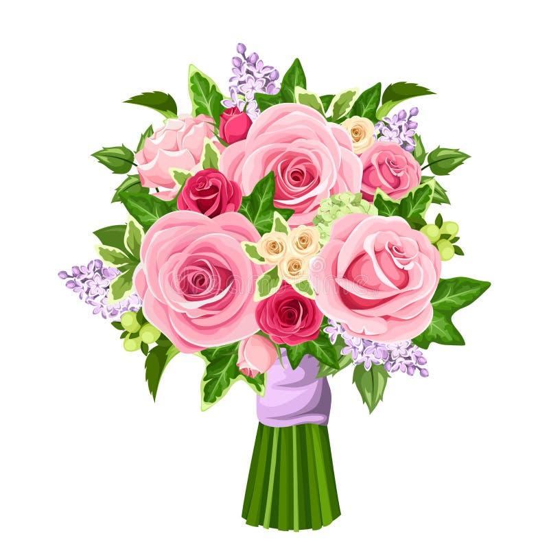 导航玫瑰、淡紫色花和常春藤叶子花束  向量例证