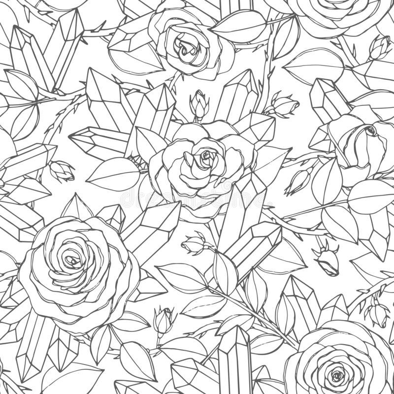 导航玫瑰色花的手拉的无缝的样式与芽、叶子、棘手的词根和水晶线艺术的 库存例证