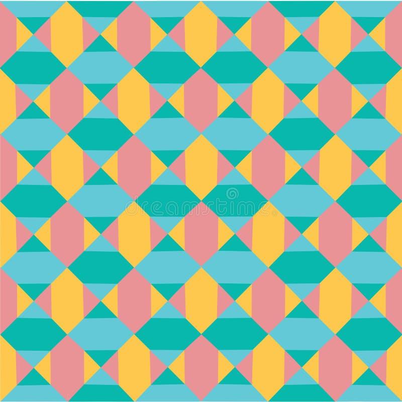 导航现代五颜六色的淡色几何样式摘要无缝的背景,减速火箭的纹理 向量例证