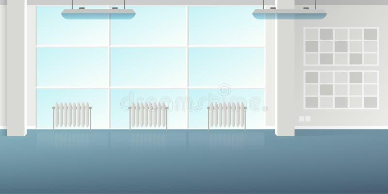 导航现代在平的样式的顶楼办公室内部空的场面 向量例证