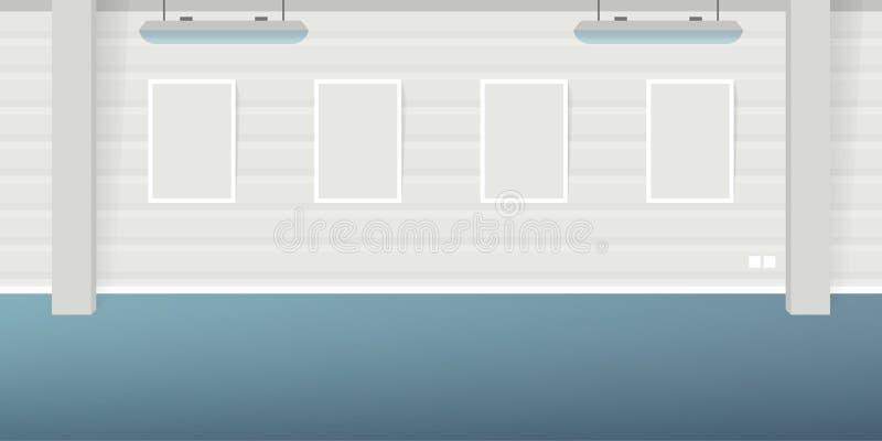 导航现代在平的样式的顶楼办公室内部空的场面 库存例证