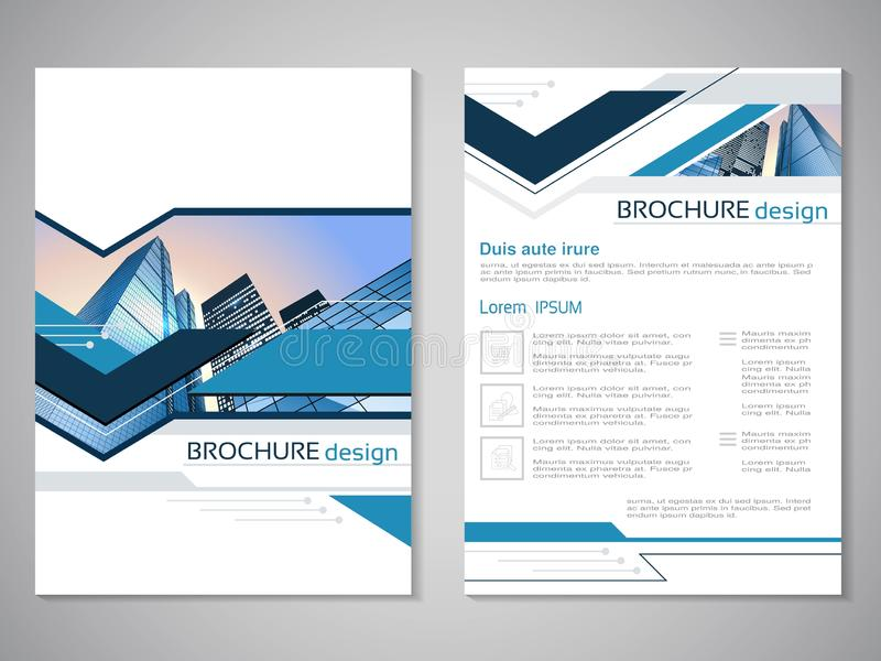 导航现代小册子,抽象飞行物有大厦背景  背景桥梁工程城市时钟连接前景法兰克福德国包括跨过街道结构的使并列的现代缩小的老部分步行场面摩天大楼耸立二 布局模板 对A4大小 蓝色,gre海报  向量例证