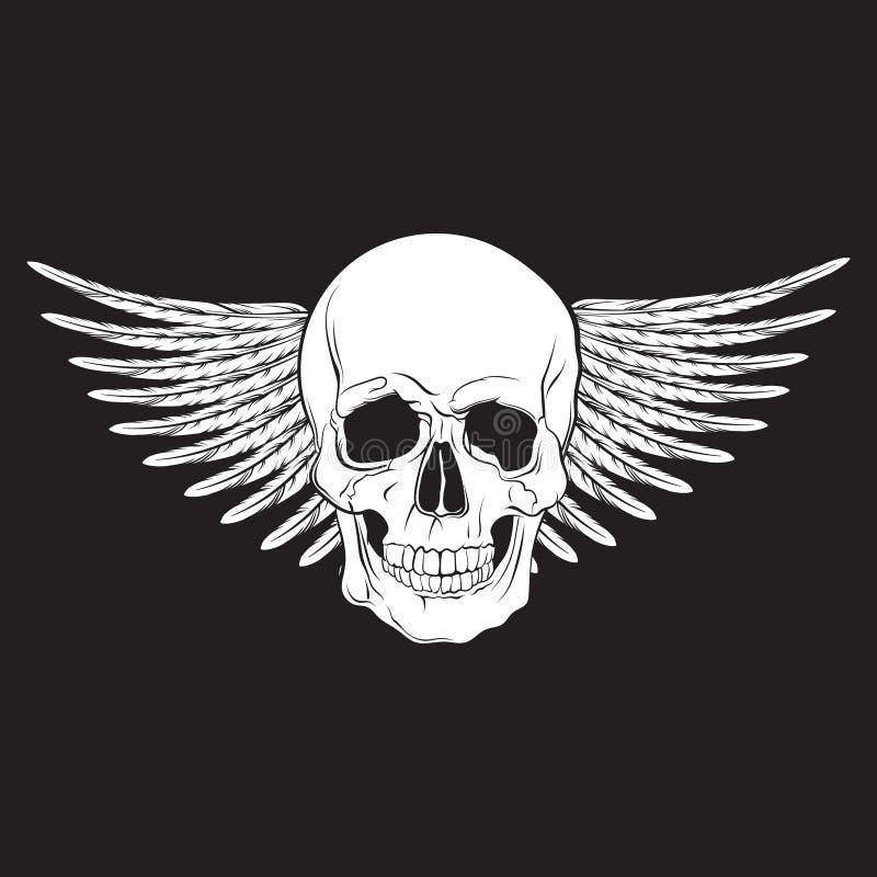 导航现实人的手拉的skul的例证与翼的 向量例证