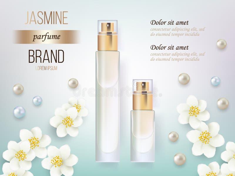 导航现实样式香水的例证在一个玻璃瓶的在与花的蓝色背景 伟大的广告 向量例证