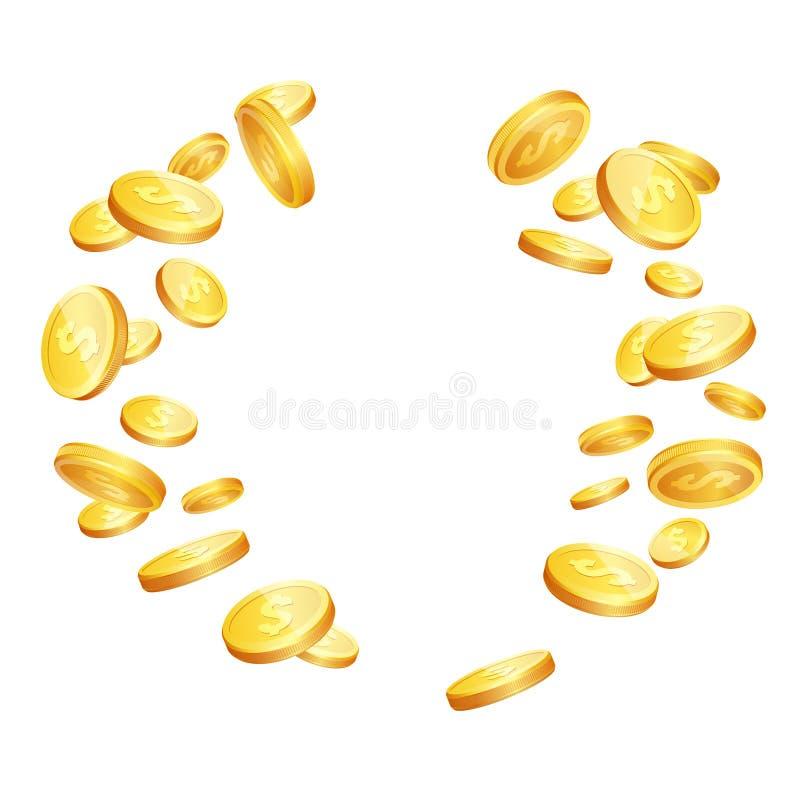 导航现实3d落的金黄硬币的例证 皇族释放例证
