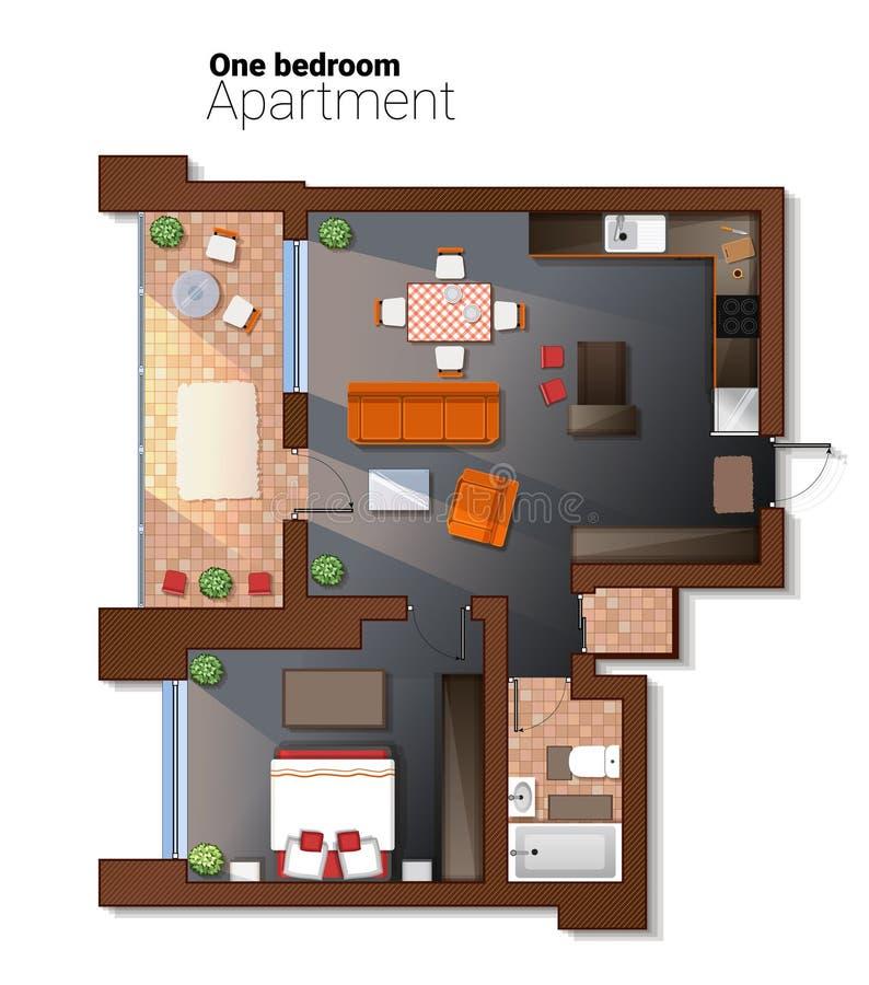 导航现代一栋卧室公寓的顶视图例证 餐厅详细的体系结构计划结合了与 库存例证