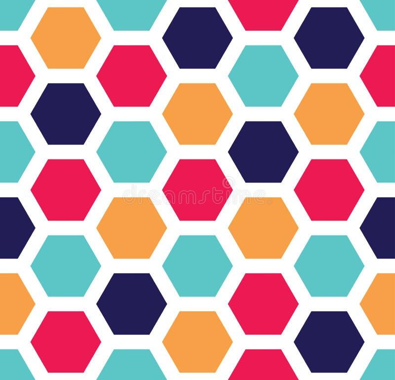 导航现代无缝的五颜六色的几何六角形样式,颜色摘要 向量例证
