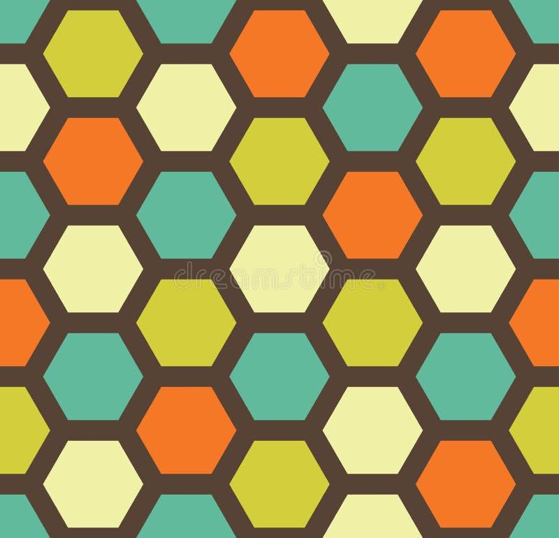 导航现代无缝的五颜六色的几何六角形样式,颜色摘要 库存例证