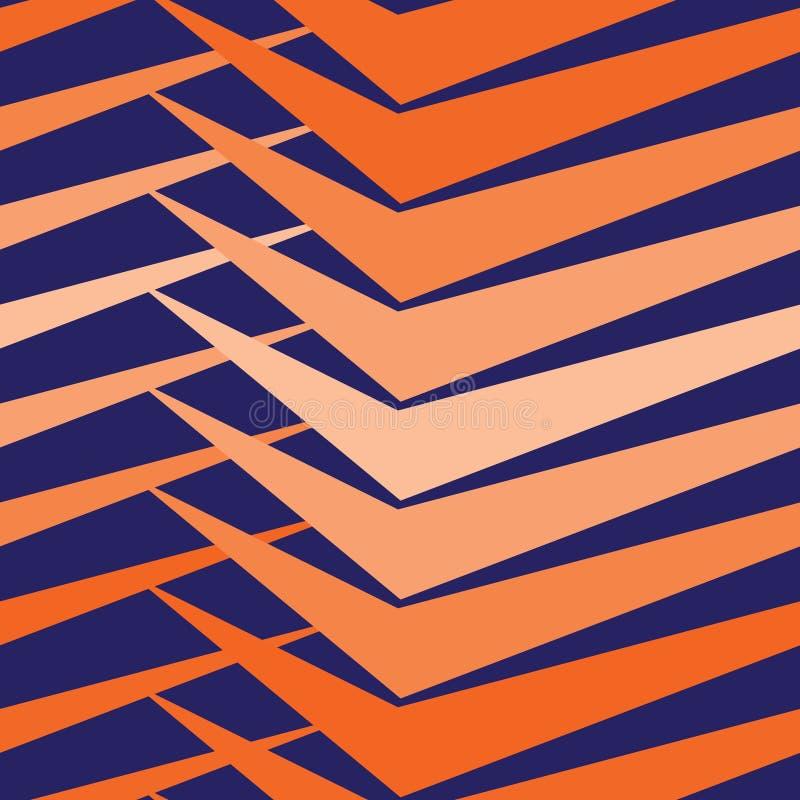 导航现代无缝的五颜六色的几何样式,颜色蓝色橙色抽象几何背景,减速火箭的纹理 库存例证