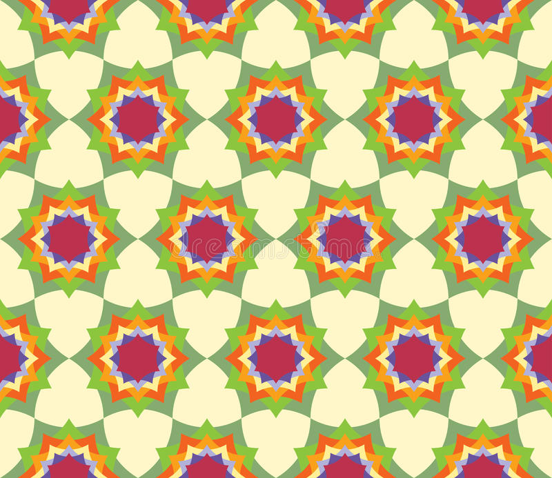 导航现代无缝的五颜六色的几何瓣花坛场样式,颜色摘要 皇族释放例证