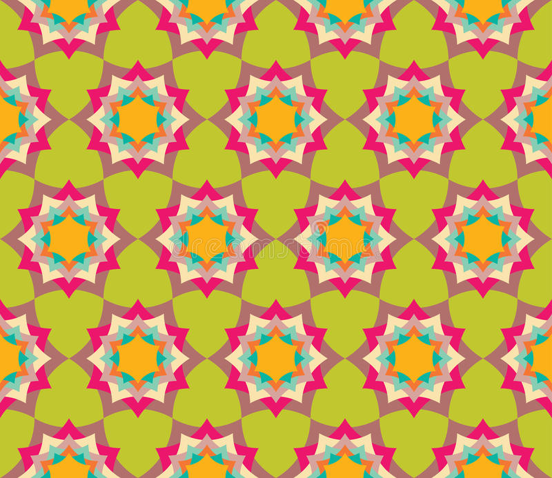 导航现代无缝的五颜六色的几何瓣花坛场样式,颜色摘要 向量例证