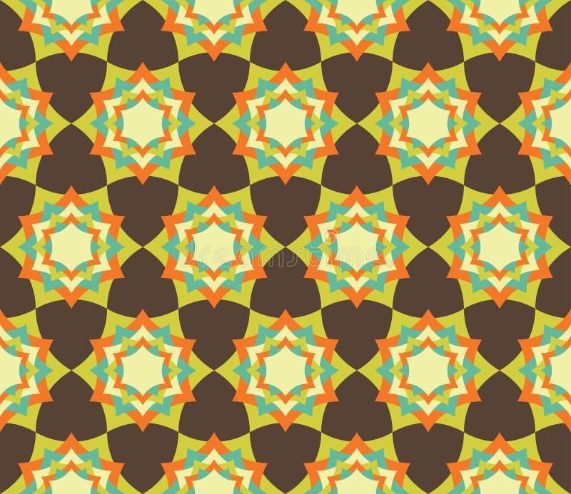 导航现代无缝的五颜六色的几何瓣花坛场样式,颜色摘要 库存例证