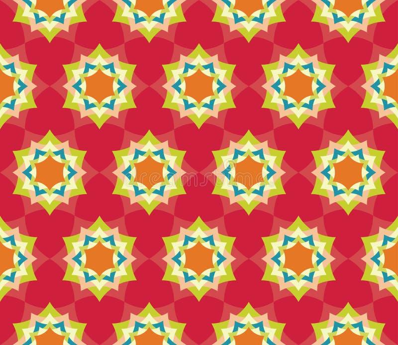 导航现代无缝的五颜六色的几何瓣花坛场样式,颜色红色摘要 向量例证