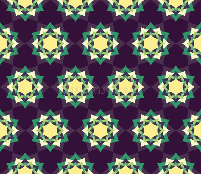 导航现代无缝的五颜六色的几何瓣花坛场样式,颜色蓝色摘要 库存例证
