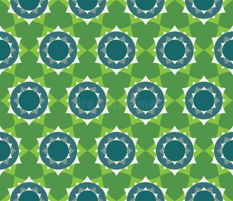 导航现代无缝的五颜六色的几何瓣花坛场样式,颜色绿色摘要 向量例证