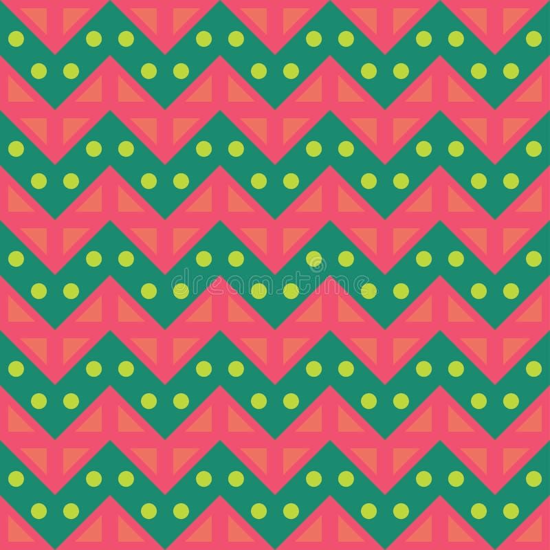 导航现代无缝的五颜六色的几何V形臂章线样式,颜色桃红色绿色,摘要 库存例证