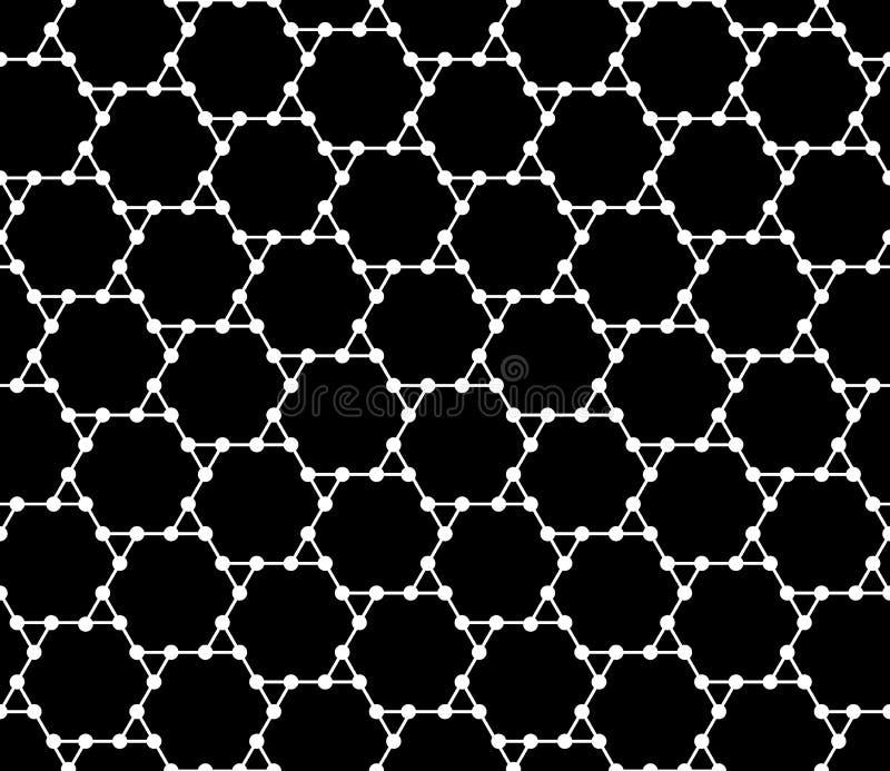 导航现代无缝的几何样式六角形栅格,黑白摘要 库存例证