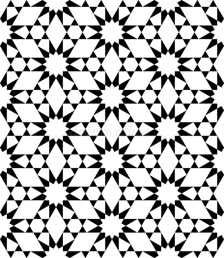 导航现代无缝的神圣的几何样式星,黑白摘要 库存例证