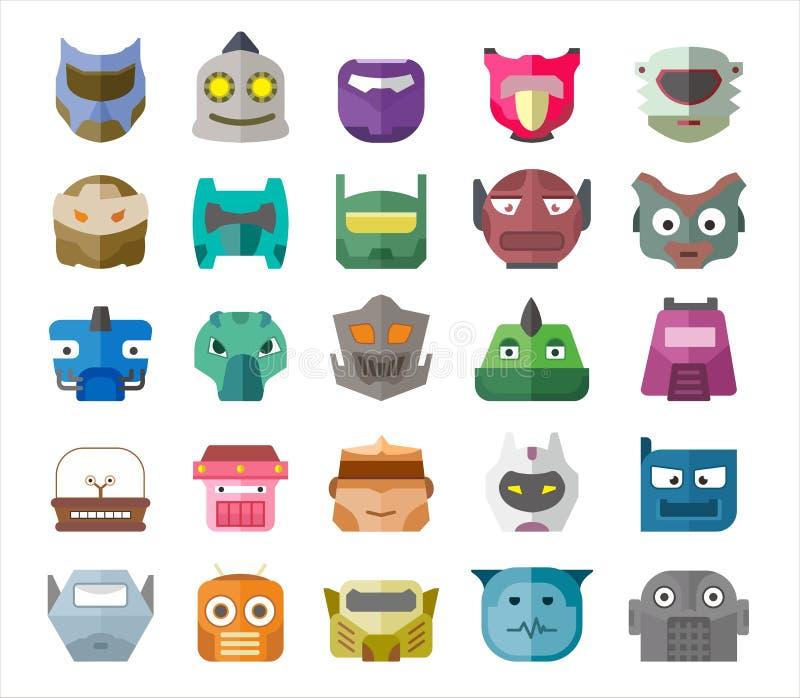 导航现代机器人头完整色彩的平的设计例证 免版税库存照片