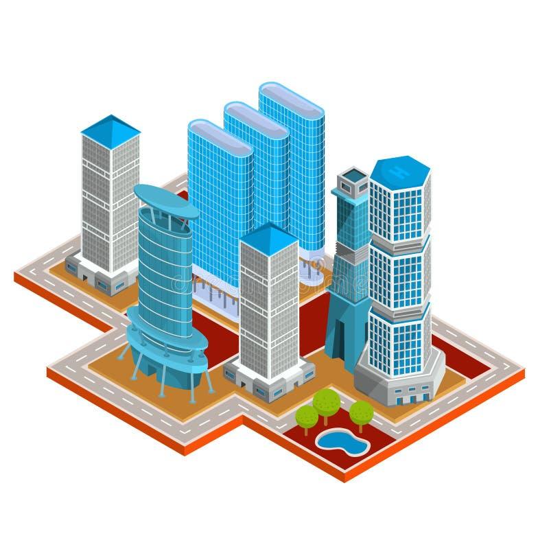 导航现代都市处所的等量3D例证与摩天大楼,办公室,居民住房的 向量例证