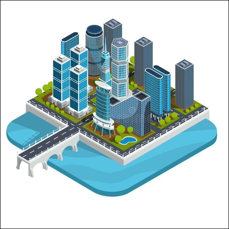导航现代都市处所的等量3D例证与摩天大楼,办公室,居民住房的 皇族释放例证
