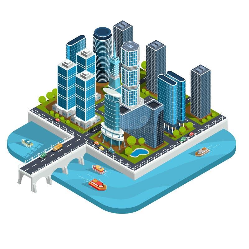 导航现代都市处所的等量3D例证与摩天大楼,办公室,居民住房,运输的 向量例证