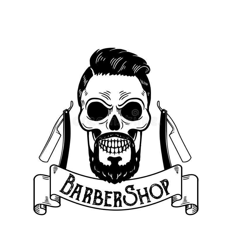 导航理发店象征,理发店商标或者徽章理发店牌的,海报头骨有刀片的和行图片