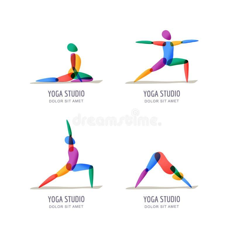 导航瑜伽演播室商标,象征设计模板 五颜六色的女性剪影用不同的瑜伽姿势,被设置的被隔绝的象 皇族释放例证