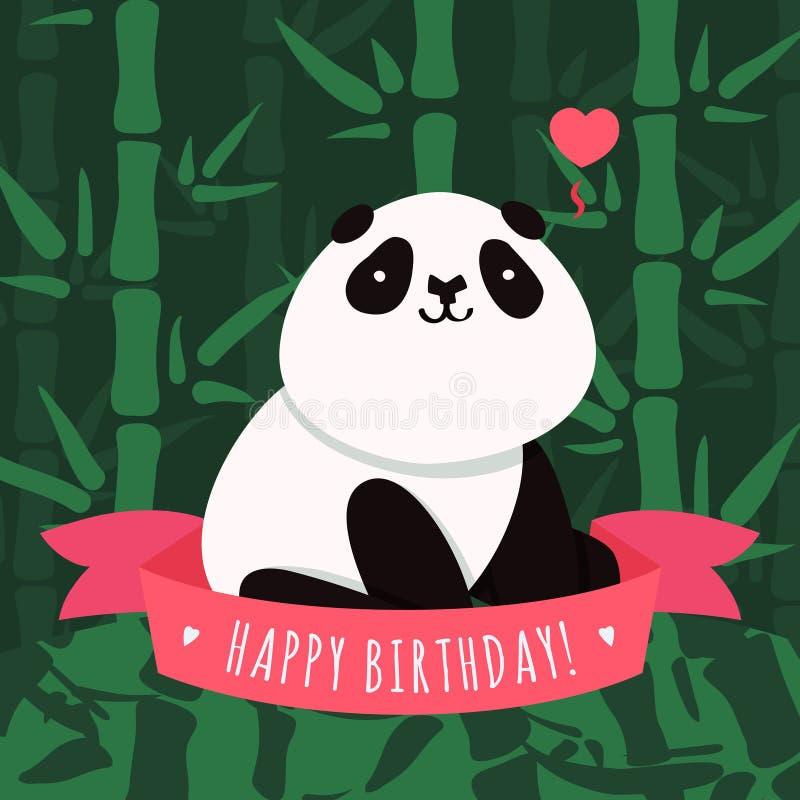 导航生日快乐卡片和背景与动画片逗人喜爱的熊猫 库存例证