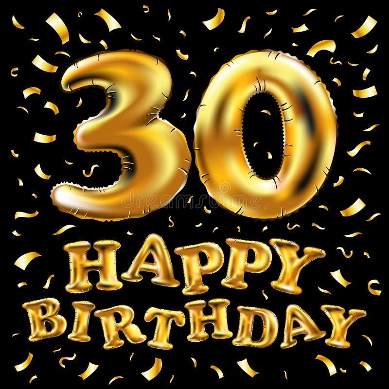 导航生日快乐30rd庆祝金气球和金黄五彩纸屑闪烁 3d您的贺卡的例证设计, 皇族释放例证