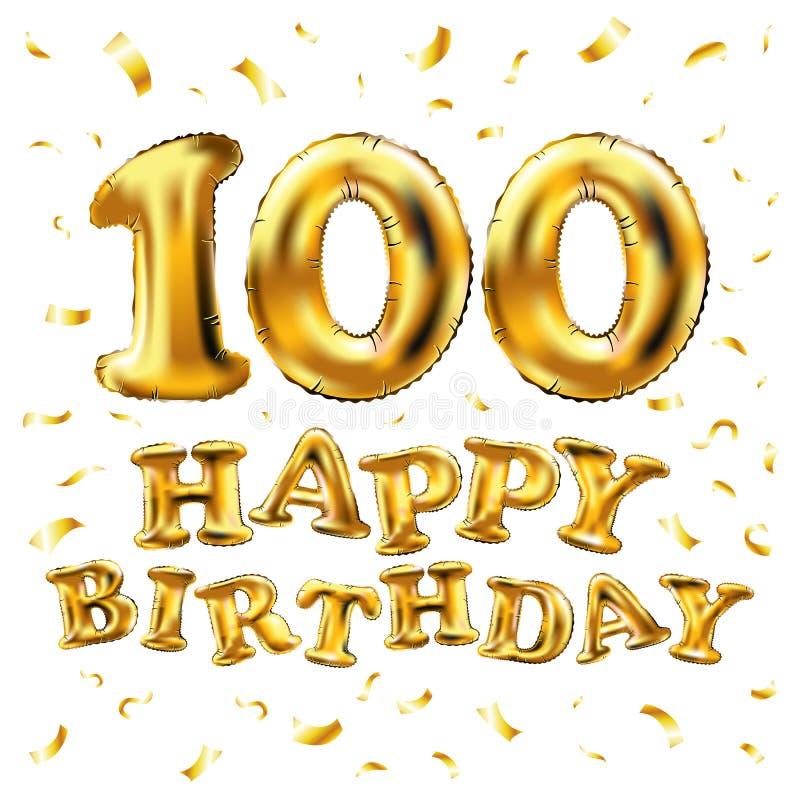 导航生日快乐100th庆祝金气球和金黄五彩纸屑闪烁 3d您的贺卡的例证设计, 向量例证