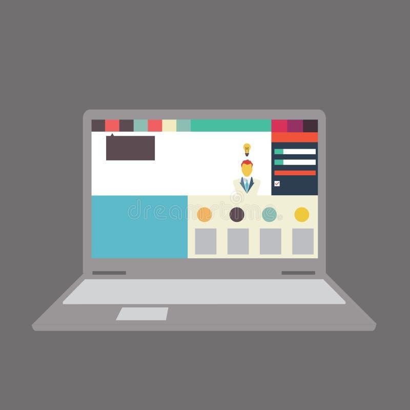 导航用户界面的例证在膝上型计算机/笔记本的 皇族释放例证