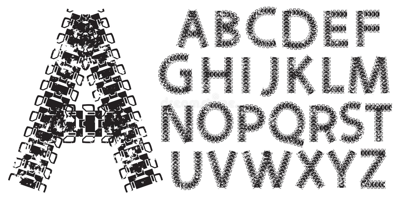 导航由坦克和拖拉机轨道做的字母表信件 库存例证