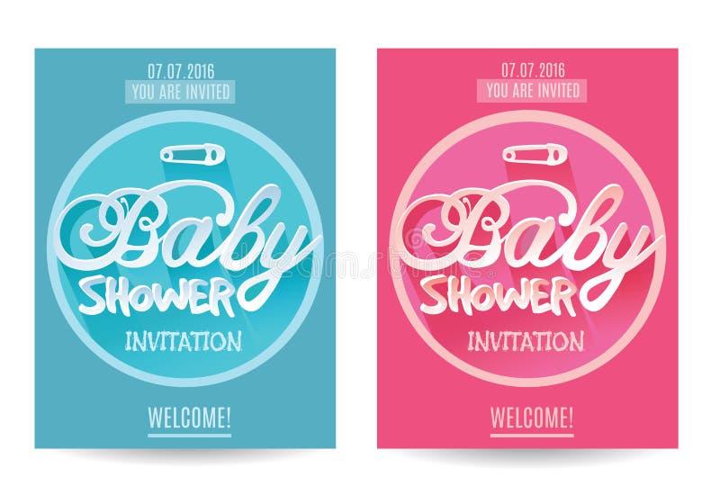 导航男孩和女孩的婴儿送礼会邀请 蓝色粉红色 背景查出的白色 向量例证