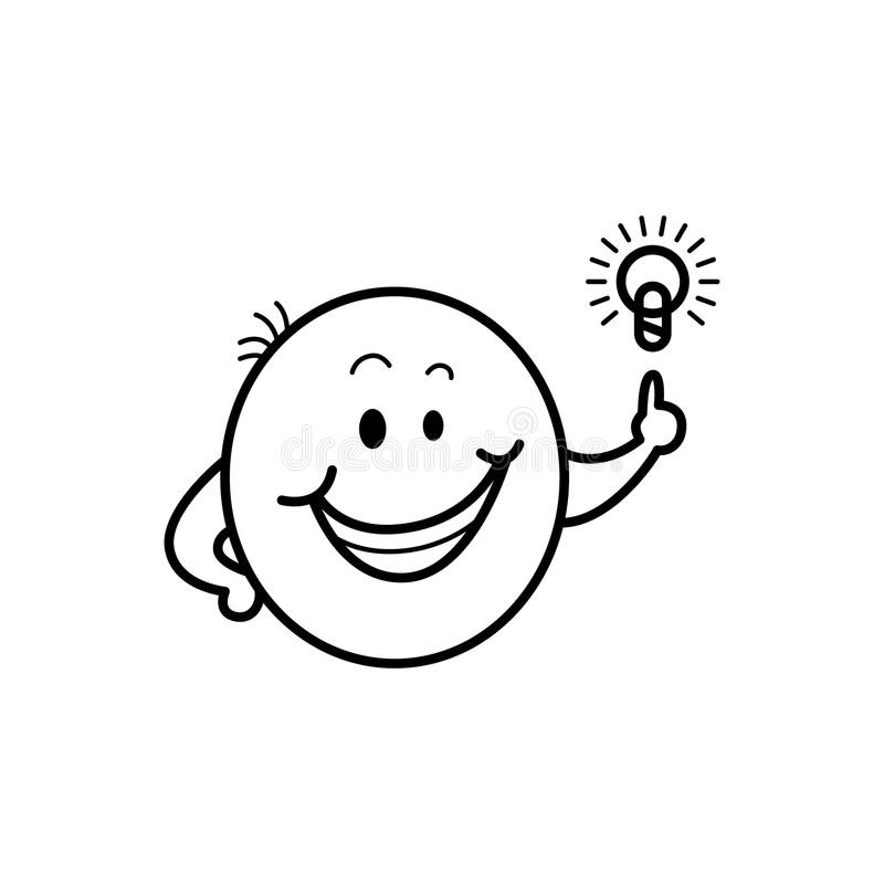导航男性兴高采烈的面孔,意思号想法电灯泡 库存例证