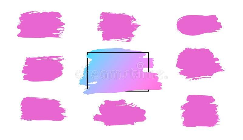 导航画笔冲程、刷子、线或者纹理 肮脏的艺术性的设计元素、箱子、框架或者背景文本的 向量例证